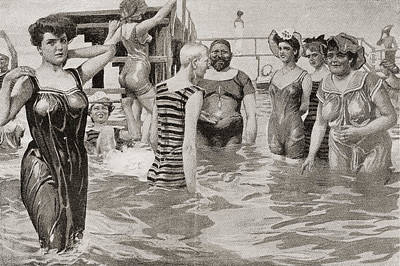 Public Bathing Drawing - Bathing Acquaintances In The 19th by Vintage Design Pics