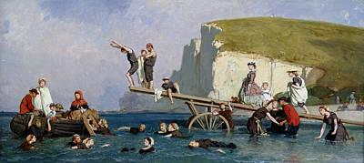 Dip Painting - Bathing At Etretat by Eugene Modeste Edmond Lepoittevin
