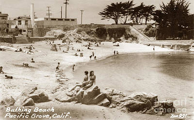 Photograph - Bathing Beach Lovers Point Pacific Grove 1935 by California Views Mr Pat Hathaway Archives