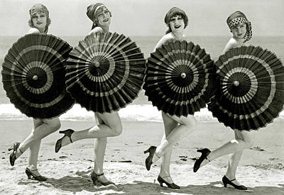 Burlesque Photograph - Bathing Beauties With Parasols by American School