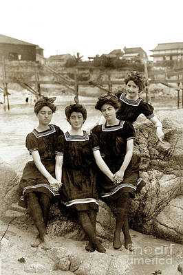 Photograph - Bathing Beauty Black Stockings At Loves Point Beach, Pacific Gro by California Views Mr Pat Hathaway Archives