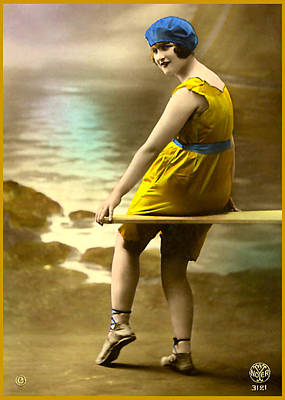 Bathing Beauty In Yellow  Bathing Suit Art Print