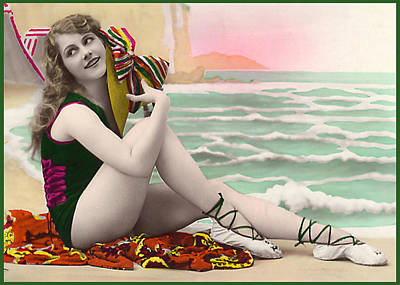 Bathing Beauty On The Shore Bathing Suit Art Print