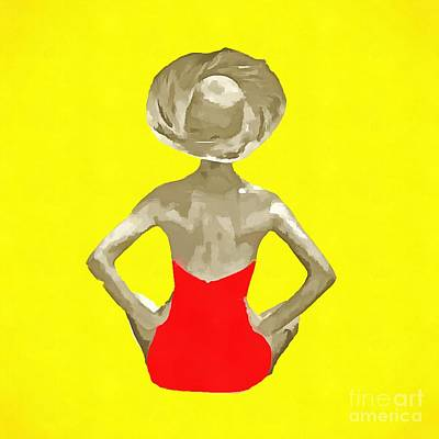 Nude Digital Art - Bathing Beauty Red Suit Painting by Edward Fielding