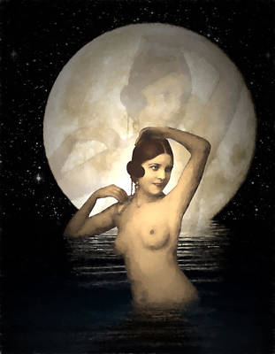 Digital Art - Bathing By Moonlight by John Haldane
