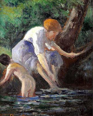 Bathing Print by Maximilien Luce