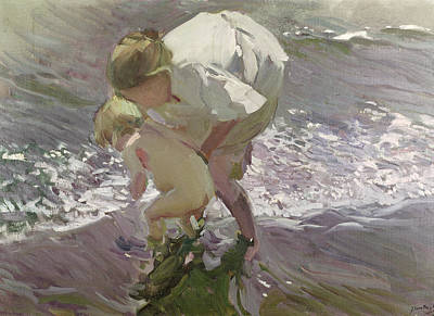 Maternity Painting - Bathing On The Beach by Joaquin Sorolla y Bastida