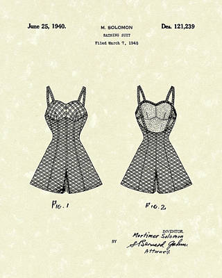 Bathing Suit Drawing - Bathing Suit 1940 Patent Art by Prior Art Design