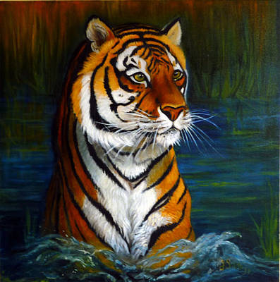 Bathing Tiger Art Print by Janet Silkoff