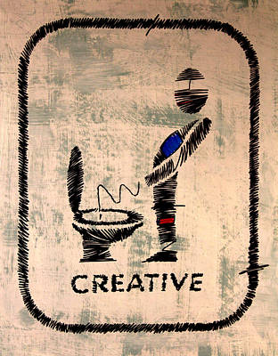 Boy Peeing Painting - Bathroom Art 1 by Artist Singh