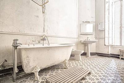 Bathroom In White - Urban Decay Art Print by Dirk Ercken