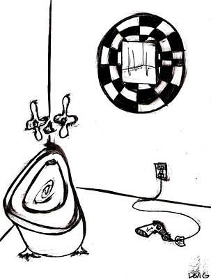 Austin Drawing - Bathroom by Levi Glassrock