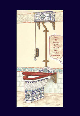Mixed Media - Bathroom Picture Blue Toilet Three by Eric Kempson