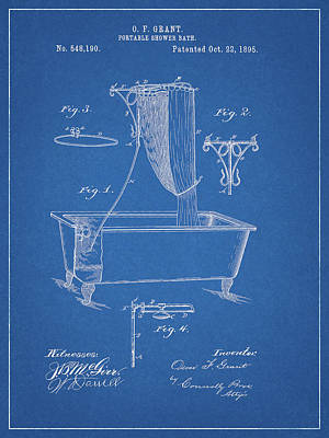 Drawing - Bathroom Shower Patent by Dan Sproul