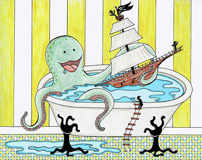 Drawing - Bathtime With The Octopus by Shawna Rowe