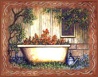 Whimsical Painting - Bathtub Garden by Linda Mears