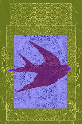 Olive Mixed Media - Batik Bird 2 by Priscilla Huber
