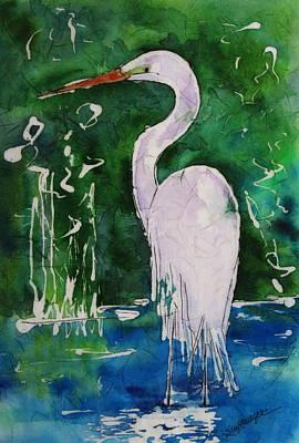 Batik Egret Art Print