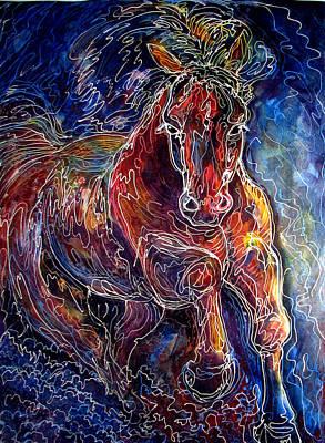 Batik Equine Abstract  Powerful By M Baldwin Print by Marcia Baldwin