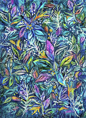 Digital Art - Batik Multi Leaves by Jean Batzell Fitzgerald