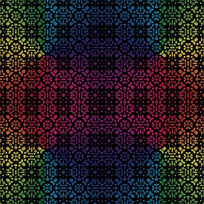 Digital Art - Batik Rainbow 100 - Black by Ruth Moratz