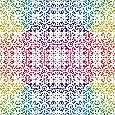 Digital Art - Batik Rainbow 100 - White by Ruth Moratz