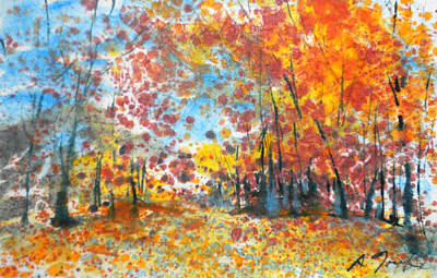 Painting - Batik Style/new England Fall-scape L-no.1 by Sumiyo Toribe