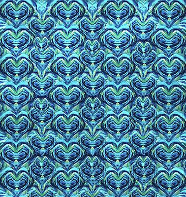 Digital Art - Batik Turquoise Hearts by Jean Batzell Fitzgerald