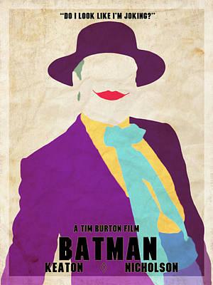 Keaton Digital Art - Batman 1989 Joker Minimalism by Dakota Randall