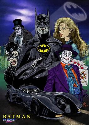 Keaton Digital Art - Batman 1989 by Joseph Burke