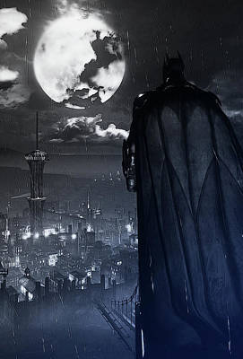 Painting - Batman And Gotham by Andrea Mazzocchetti