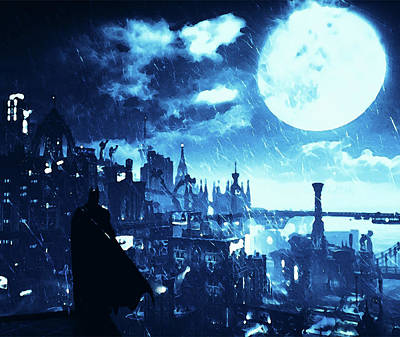 Painting - Batman And Gotham City by Andrea Mazzocchetti
