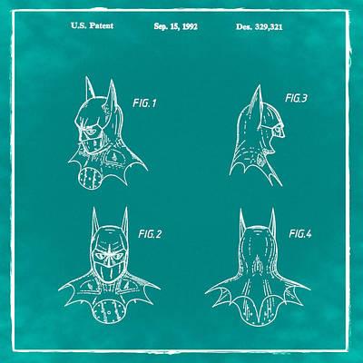 Batman Photograph - Batman Cowl Patent 1992 Green by Bill Cannon