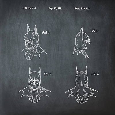 Dc Comics Drawing - Batman Cowl Patent by Bill Cannon