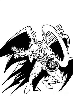 Mcfarlane Drawing - Batman Fear The Reaper Year 2 Inked by Justin Moore