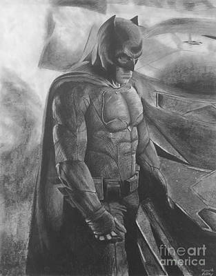 Justice League Drawing - Batman by Kenneth Pettay