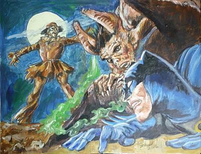 Painting - Batman V Scarecrow by Bryan Bustard