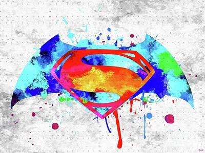 Comics Mixed Media - Batman v Superman Logo by Daniel Janda