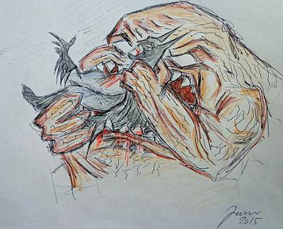 Clay Drawing - Batman Vs Clay Face Sketch by Jaime Paberzis