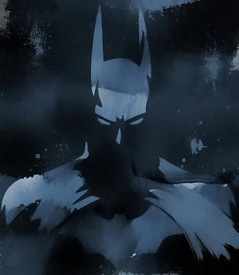 Justice Painting - Batman Watercolor Splatter by Dan Sproul