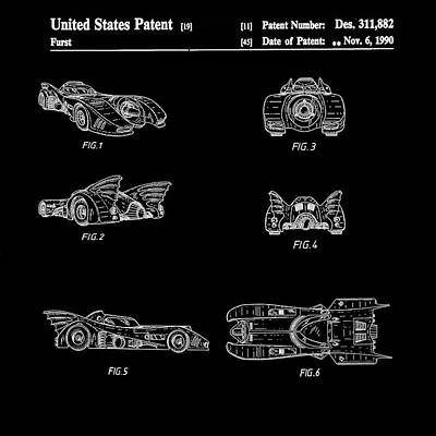 Batmobile 1990 Patent In Black Print by Bill Cannon