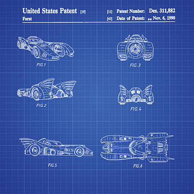 Batmobile 1990 Patent In Blueprint Print by Bill Cannon