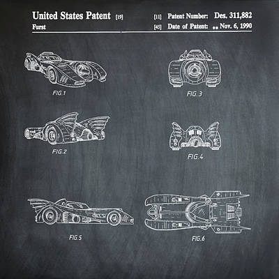 Batmobile 1990 Patent In Chalk Art Print