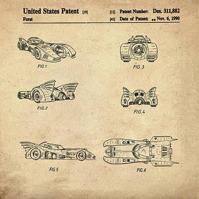 Batmobile Photograph - Batmobile 1990 Patent In Sepia by Bill Cannon