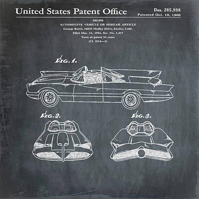 Batmobile Patent 1966 In Chalk Art Print by Bill Cannon