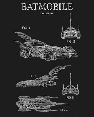 Dc Comics Drawing - Batmobile Patent by Dan Sproul