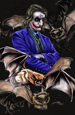 Evil Clown Painting - Bats 2 by Darren Jolly