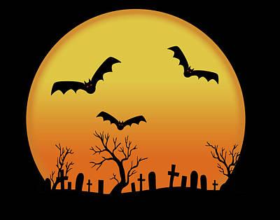 Graveyard Digital Art - Bats In Flight by Marilu Windvand
