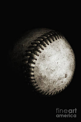Photograph - Battered Baseball In Black And White by Leah McPhail