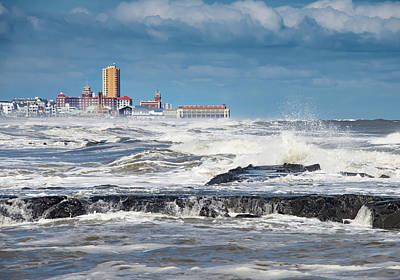 Photograph - Battering The Seawall At Shark River Inlet by Gary Slawsky